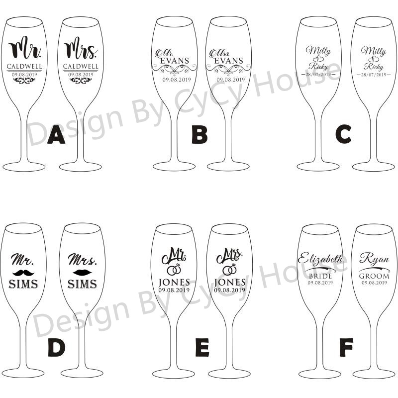 Image 5 - 2pc Wedding Glasses Personalized Champagne Flutes Crystalline Party Gift Toasting Glass Goblet Crystal Engrave Anniversary H1043-in Other Glass from Home & Garden