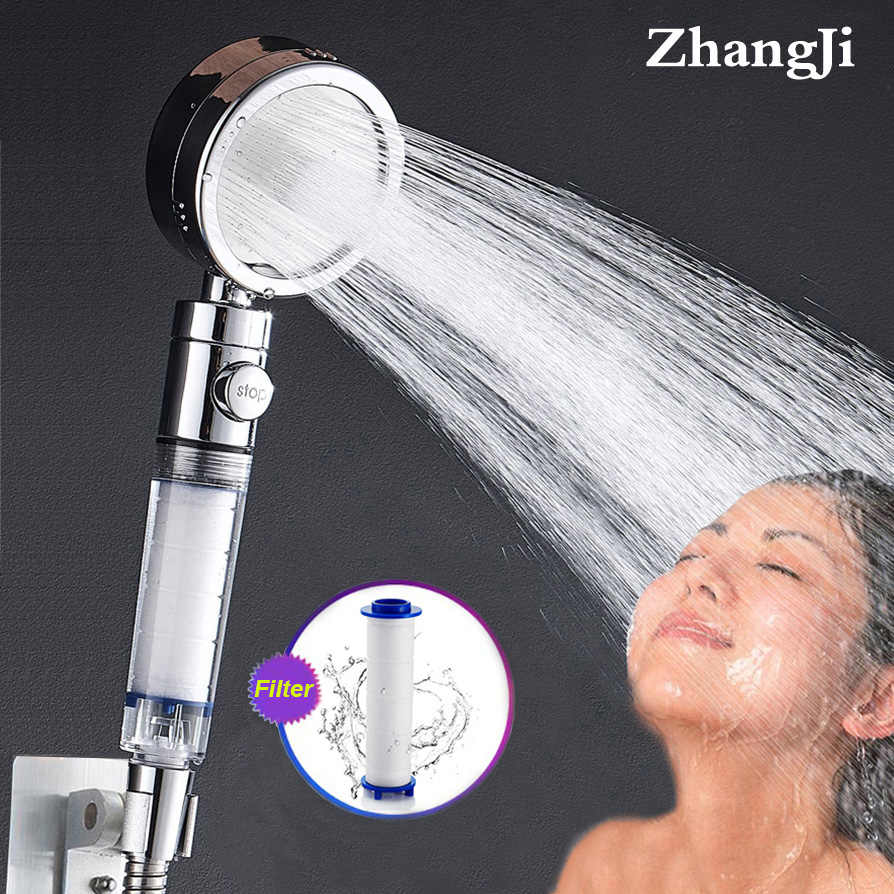 ZhangJi High pressure 3 Mode adjustable Filter Shower Head Purified water Replaceable Filter Element skin care sprinkler Nozzle