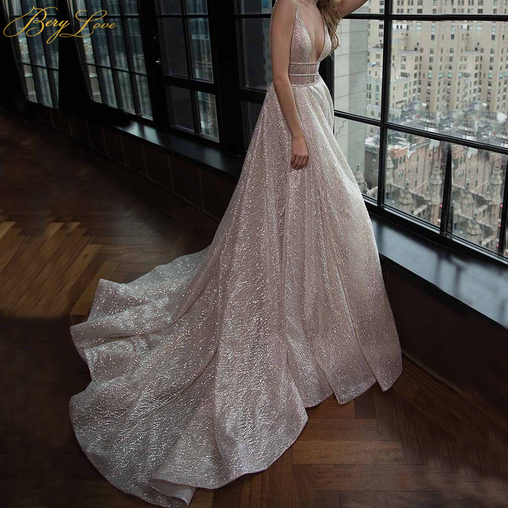 Image 3 - Long Dress For Evening Charming Deep V Neck A Line Floor Length Shiny Formal Dresses Custom Made Party Gowns HB005Evening Dresses   -