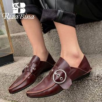 RIZABINA Women Flats Shoes Real Leather Sexy Pointed Toe Buckle Casual Shoes Women High Quality Comfort Footwear Size 34-40