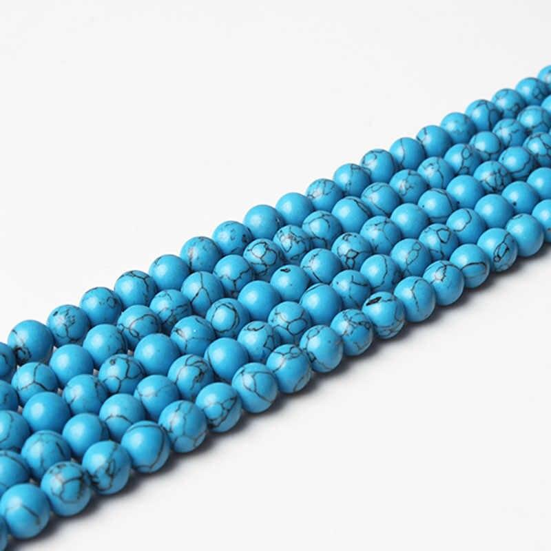 """Lanli Mịn Tự Nhiên Đá Xanh Dương Turquoises Tròn Rời Hạt 15 """"Dây 4 6 8 10 Mm Chọn Kích Thước Cho bộ Trang Sức Makin"""