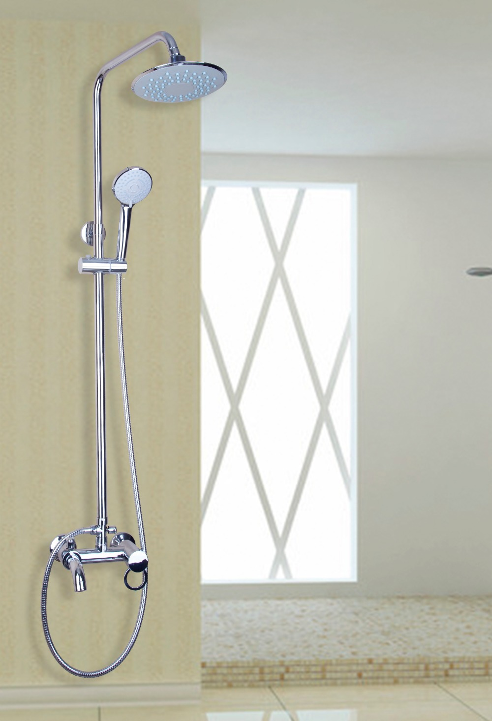 """Wall Mounted Stainless steel Round 8/"""" Rainfall Shower Head with Brass Shower Arm"""