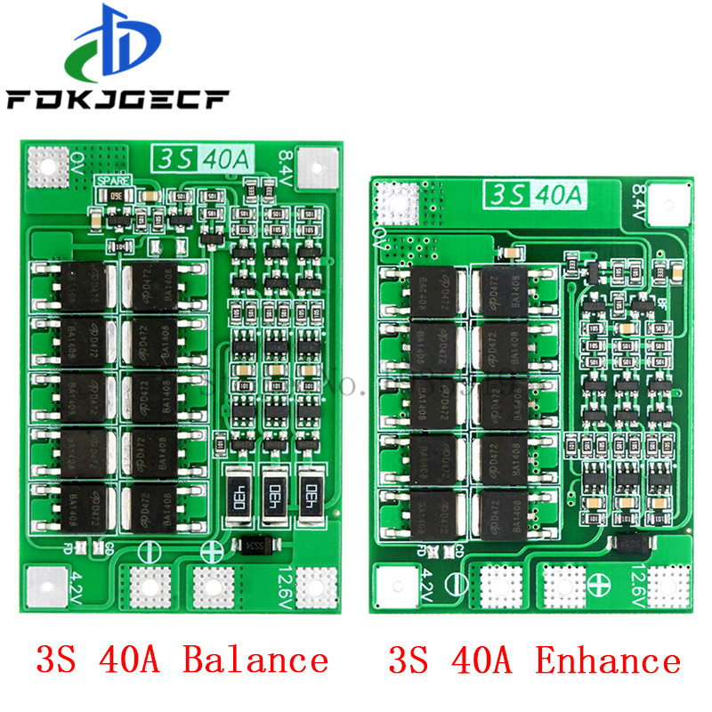 10pcs <font><b>3S</b></font> 40A BMS 11.1V 12.6V 18650 lithium battery protection <font><b>Board</b></font> with balanced Version for drill 40A current Enhance/Balance image