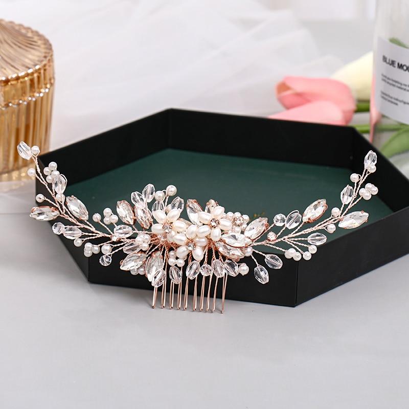 Fashion Rose Gold Wedding Hair Comb Flower Tiara Handmade Pearl Rhinestone Headdress Prom Bridal Hair Jewelr Accessories