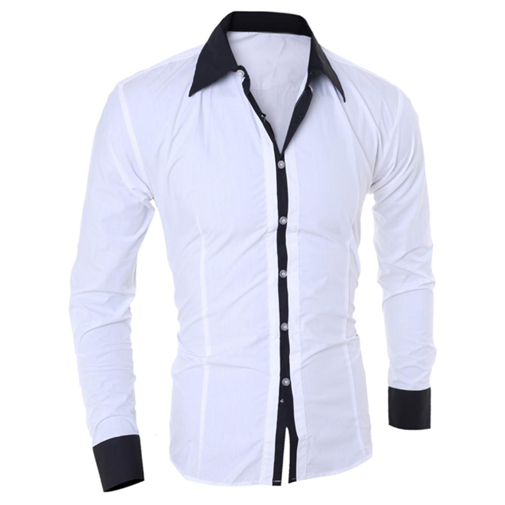 Business Men Turn Down Collar Long Sleeve Color Block Cotton Prom Elegant Casual High Quality Cotton Button Contrast Shirt
