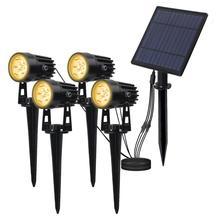 T-SUNRISE 4 PCS LED Solar Light IP65 Waterproof Outdoor Landscape Lamps Auto ON/OFF Solar Wall Lights for Garden Solar Lamp