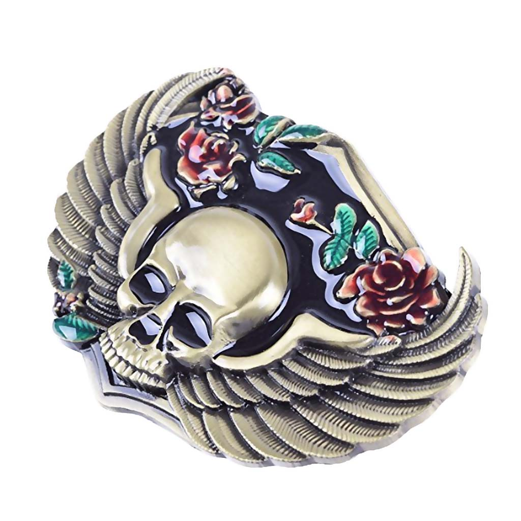 Native Gothic Flower Skull Western Rodeo Belt Buckle Men Accessory 8.6x6.8cm