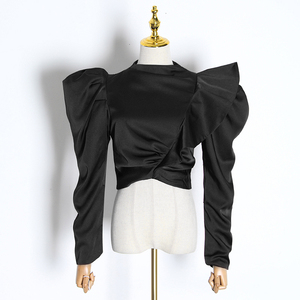Image 5 - TWOTWINSTYLE Casual Patchwork Ruffles Blouses For Female Stand Collar Puff Half Sleeve Tunic Ruched Shirt Women Fashion 2020 New