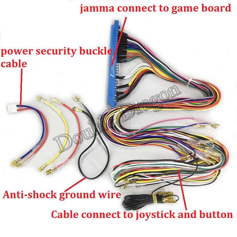 Jamma 케이블 5 핀 조이스틱 버튼 와이어 하네스 전체 구리 사용자 정의 전체 크기 80cm 아케이드 미니 캐비닛에 대 한 안전 품질 와이어