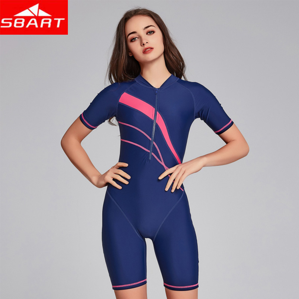 Quick Dry Sun Protection Short Sleeve Surf Rash Guard One-piece Swimsuit Women's Wetsuit Surfing Swimwear Water Sports Clothing
