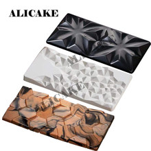 3 Cavity Chocolate Mould Polycarbonate Chocolate Bar Molds Form Tray 154x77x9mm Diamond Snowflower Geometry Baking Pastry Tools