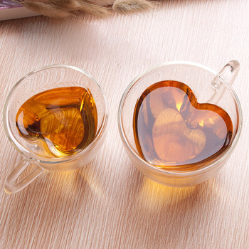 180ml/240ml Heart Love Shaped Tea Beer Mug Juice Cup Coffee Cups Mug Gift Double Wall Glass Mug Heat-Resisting Drinkware