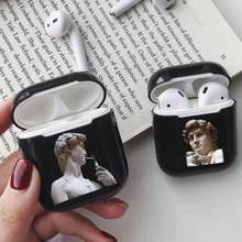 LAUGH LIFE Black David Statue Luxury Earphone Case For Airpods Art Style Cases Cover Accessories