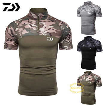 Daiwa Clothing Camouflage Breathable Fishing Shirts Short Sleeve T Shirt Men Quick Dry Fishing Clothing Men Top Tactical Sports tanie i dobre opinie LANSHITINA Summer
