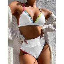 2021 nuevo de alta cintura Bikini de las mujeres con cuello en V trajes de traje de baño de mujer trajes de baño con Patchwork verano ropa de playa traje de baño
