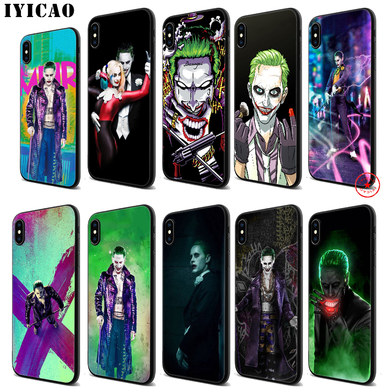 IYICAO Suicide Squad Joker Harley Soft Black Silicone Case for iPhone 11 Pro Xr Xs Max X or 10 8 7 6 6S Plus 5 5S SE