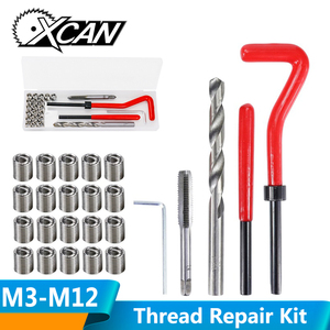 XCAN 25pcs M3/M4/M5/M6/M7/M8/M10/M12/14 Thread Repair Tool Kit for Restoring Damaged Threads Spanner Wrench Twist Drill Bit Kit