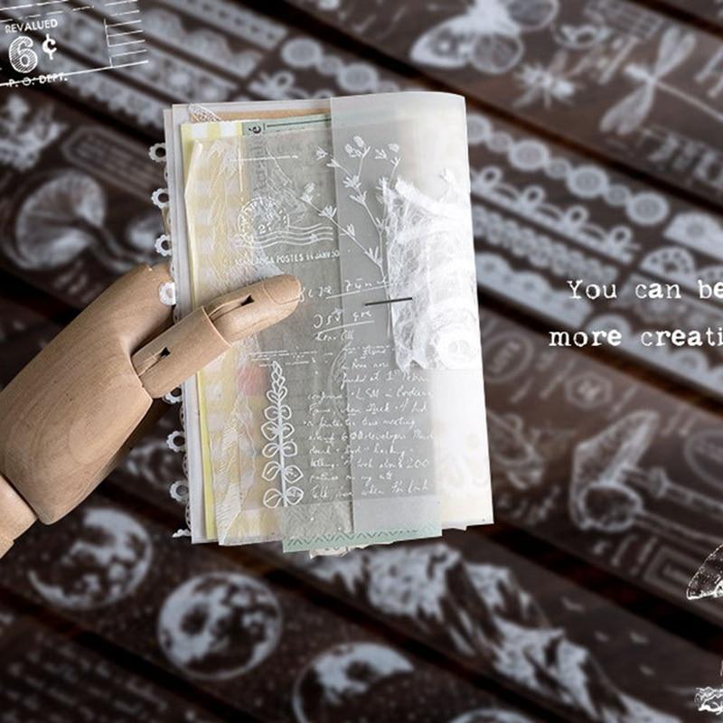 Retro Transparent White Lace Decorative Adhesive Tape Plant Insect Masking Washi Tape DIY Scrapbooking Sticker Label Stationery