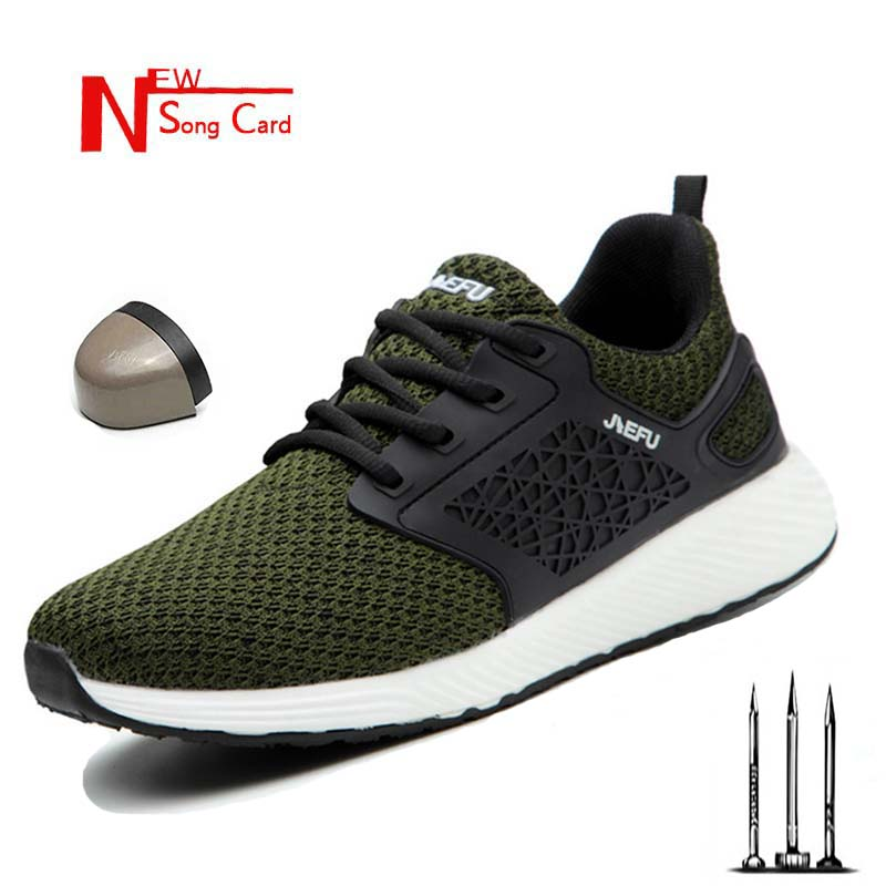 New men and women flying woven light steel head anti mite anti security boots anti puncture sports shoes breathable work shoes