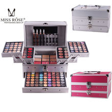 Popfeel Miss Rose matte nude shimmer eyeshadow palette makeup set with brush mirror Shrink professional Cosmetic case makeup kit