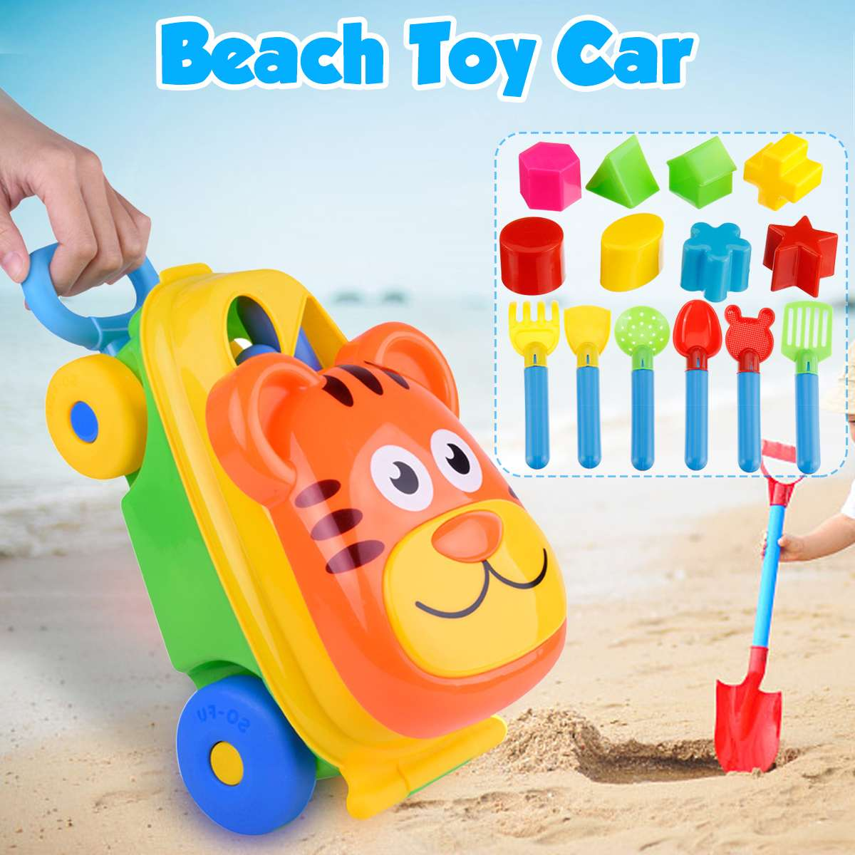 15Pcs Beach Swim Toys Car Trolley Sand Play Toy Set Organizer Bucket For Kids Eco-Friendly Colorful Plastic Unique Shapes
