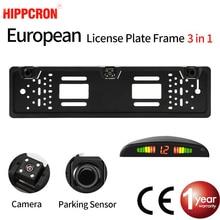 SINOVCLE Car Rear View Camera European License Car Parking Sensor Plate Frame Waterproof Night Vision Reverse Backup Camera