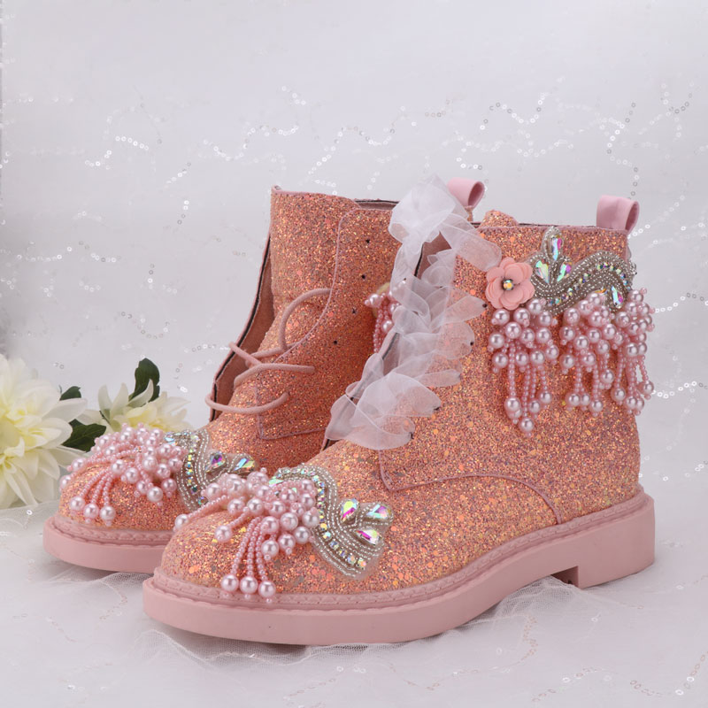 Luxury Shoes Wedding Boots For Bride Personized Princess Sequins Pearls Sweet Lady Autumn Winter Crystal Colorful Bling Shoes