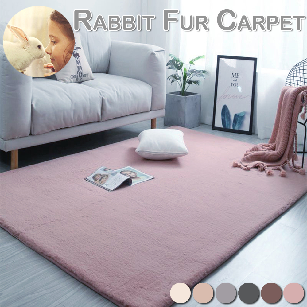 Anti-slip Floor Mat Washable Shaggy Fur Rabbit Carpet Plush Soft Carpet Bedroom Water Absorption Carpet Rug For Living Room D20
