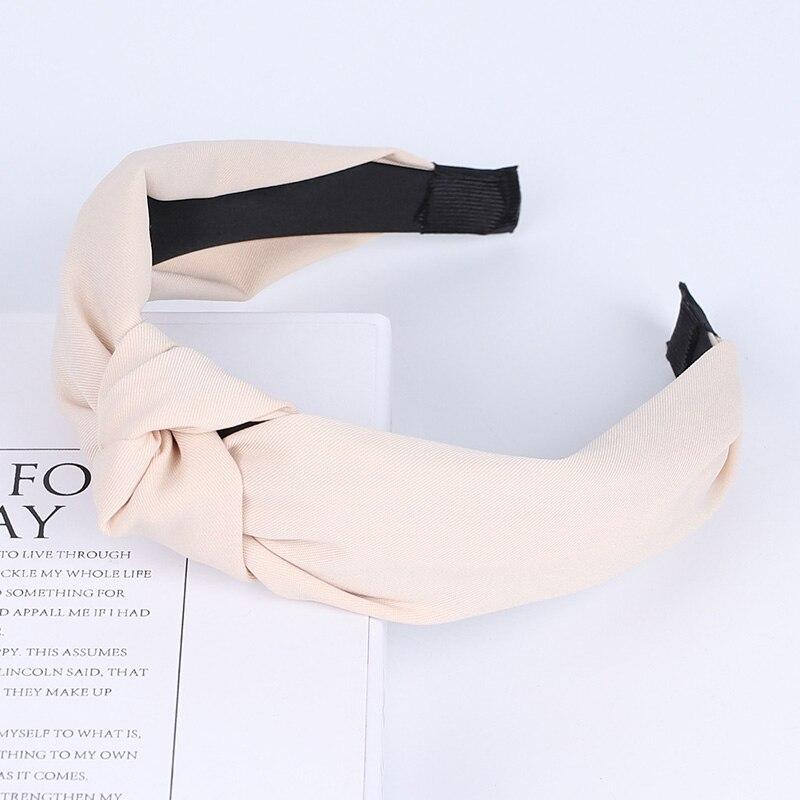 Couleur unie noeud bandeaux pour femmes Simple tissu filles bandeau femmes cheveux accessoires large côté bandeau 46