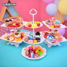 3 ярусная пищевая пластиковая фруктовая десертная тарелка, подставка для торта, декор для свадьбы, дня рождения, макарон, 2 ярусные тарелки