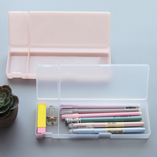 Multifunction Transparent Frosted Plastic Pencil Pens Jewelry Box Stationery Supplies