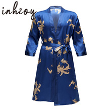 Robe-Sets Kimono Belt-Bathrobe Sleepwear Pajama Satin Print with Sleep-Bottoms Shorts