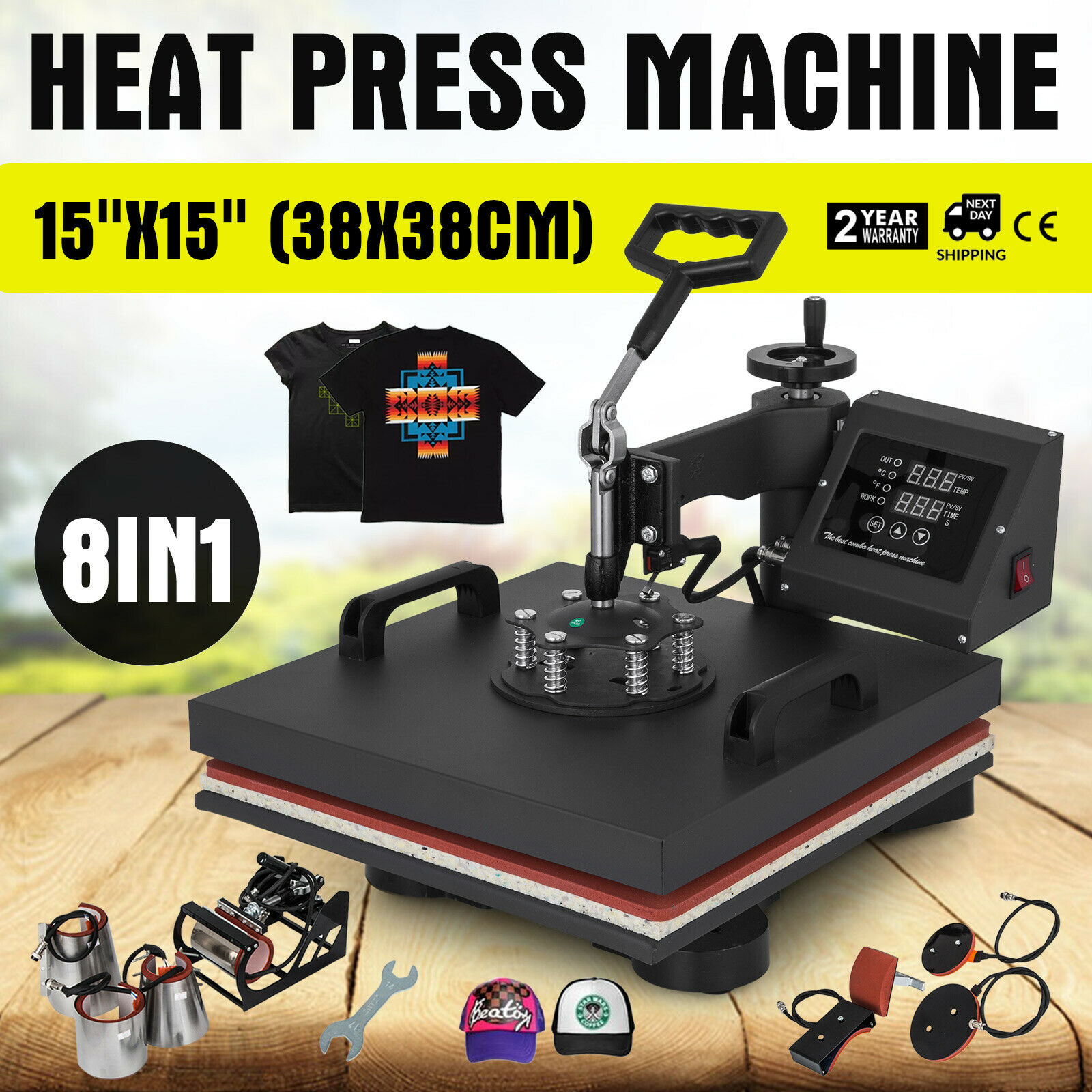"""8 in 1 Heat Press Machine For T Shirts 15""""x15"""" Combo Kit Sublimation Swing away