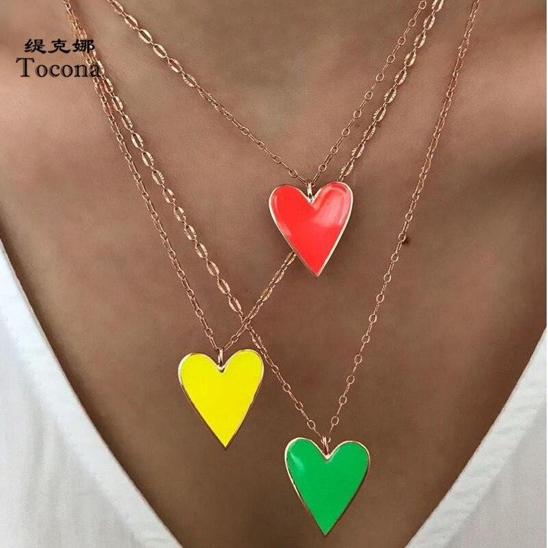 Tocona Böhmischen Bunte Herz Anhänger Halskette Charme Multilayer Gold Kette Einstellbar Partei Schmuck für Frauen Geschenk 15221