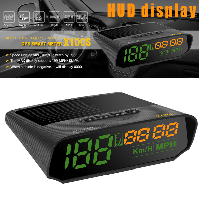 Car OBD HUD Display Solar GPS LED KMH MPH Speedometer Alarm Auto Safe Warning PUO88