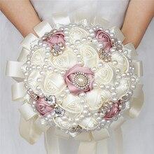 Cheapest Foam Flower Bridal Bridesmaid Holding Flowers Artificial Silk Ribbon Bouquet Accessories Wedding W226C