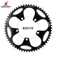Wuzei bicicleta de estrada redonda estreita larga rodas dentadas 110 bcd 50/52/54/56/58 t roda dentada estrada dobrável peças da placa dente|Correia da bicicleta| |  -