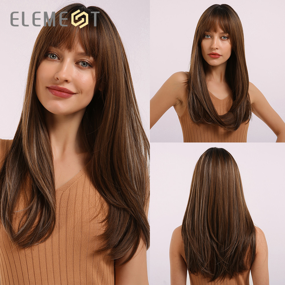 Perruque synthétique avec frange brune et élément, perruque mixte longue lisse avec frange pour femmes blanches/noires, résistante à la chaleur pour tous les jours ou les fêtes