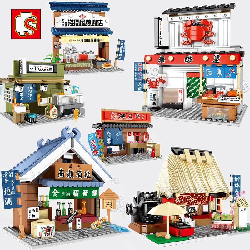 Sembo City Japan Street Sushi Restaurant Shop Store Mini Blocks Building