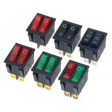 1PCS KCD6 15A 250V AC Rocker Switch  6pins With Lamp ON-OFF The Electric Grill  Electric Heater Double Ship Type