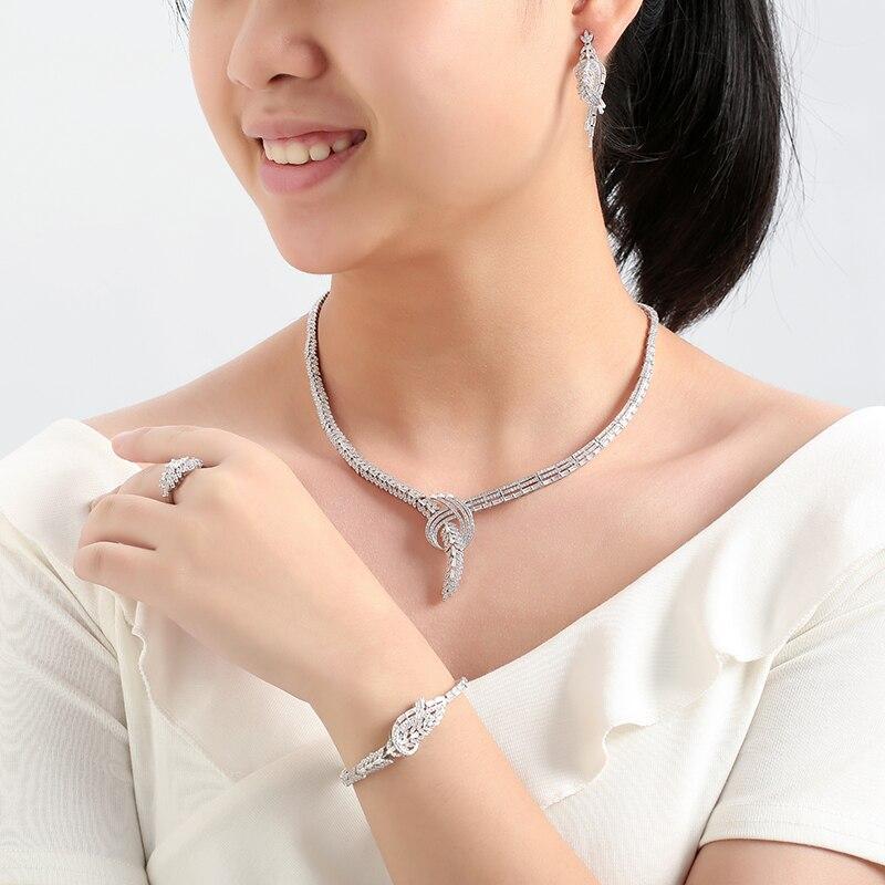 Image 4 - Набор ювелирных изделий HADIYANA, модный циркониевый роскошный  женский свадебный набор, ожерелье, серьги, кольцо и браслет,  cn119bisuteriaЮвелирные наборы