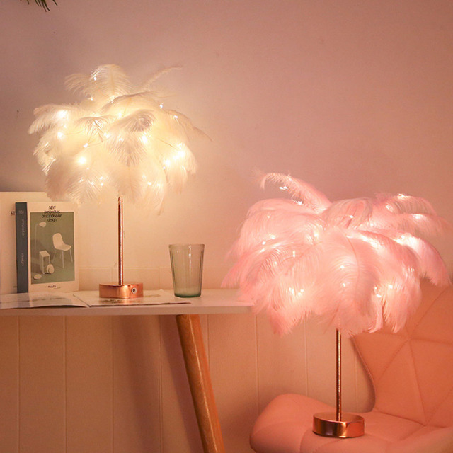 Remote Control Feather Table Lamp USB/AA Battery Power DIY Creative Warm Light Tree Feather Lampshade Wedding Home Bedroom Decor 2