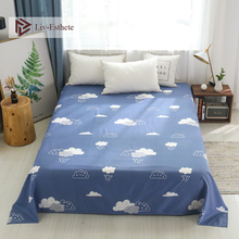 Liv-Esthete 2019 Fashion Cloud Blue Flat Sheet Printing Bed For Single Double Queen King Cover Children Adults