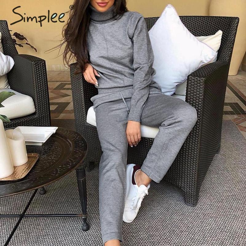Simplee Winter Sweater Suits Sets Turtleneck Long Sleeve Knitted Sweaters Long Trousers Women Sets Causal Solid 2 Pcs Tracksuit