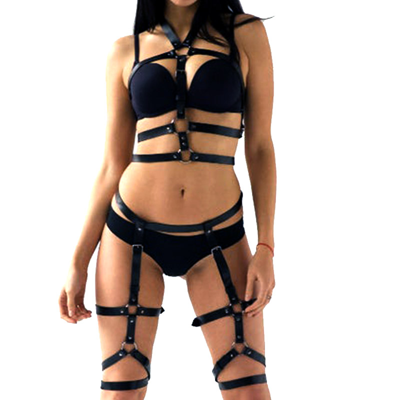Rave Punk Women's Belt Leather Fashion Belt Harness Sexy Gothic Bondage Cinturon Mujer Wedding Garter Fantazi Seks Suspenders