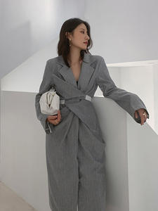Knot Elegant Dress Spring Pleated Long-Sleeve Gray Loose EAM Women Fit-Fashion Summer