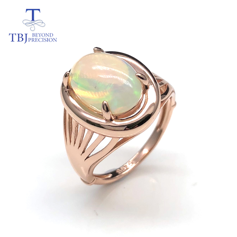 TBJ new Ethiopia opal rings top quality Natural gemstone 925 sterling silver fine jewelry for woman