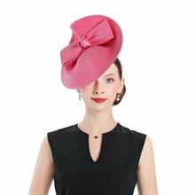 Вуалетки розовая Свадебная шляпка для церкви для женщин Элегантный соломенный лук жокейский клуб Федора Винтаж Дамы банкет Вечеринка Выпускной Дерби шляпа