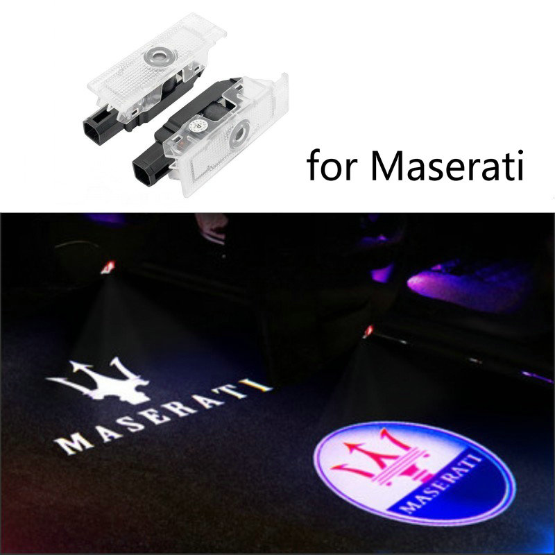 2X Car LED Door Logo Light For Maserati Quattroporte Ghibli GranTurismo GranCabrio Levante Ghost Shadow Welcome Lamp Accessories