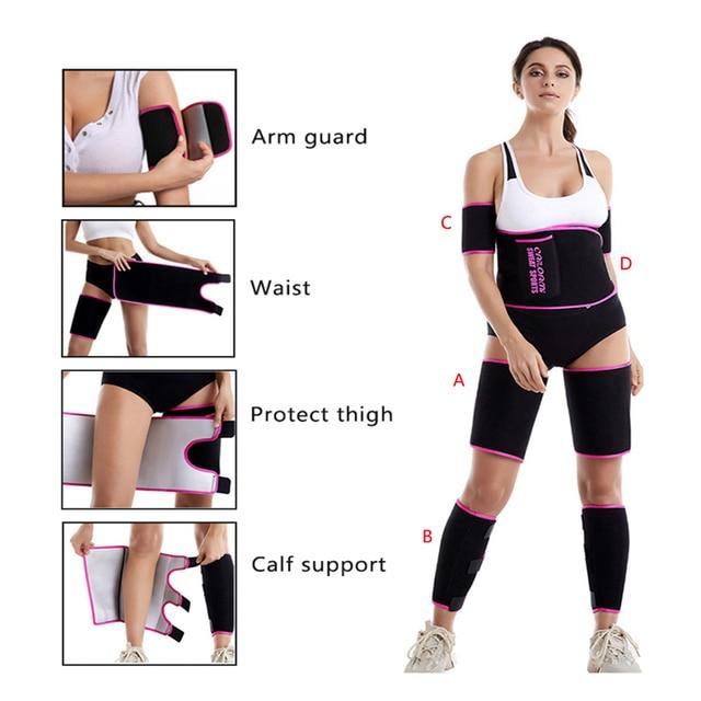 Waist Trimmer Protector Belt Weight Loss Sweat Band Wrap Fat Tummy Stomach Sauna Sweat Belt With Calf Suppor 5
